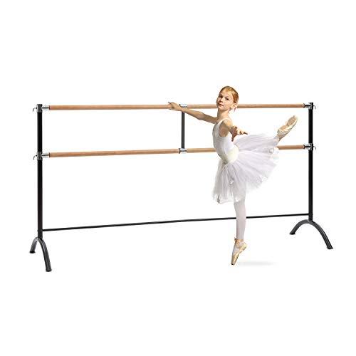 Klarfit Barre Marie - freistehende Doppel-Ballettstange mit 2 x 38mm Ø, 220 x 113 cm, pulverbeschichtete Stahlrohre mit Holzoptik, rutschfest, für Stretch- und Bewegungsübungen, Fit Edition, schwarz