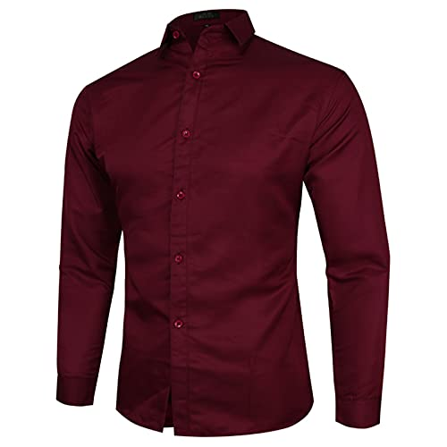 Camisa de hombre de algodón, camisa de ocio, monocolor, manga larga, camisa de negocios, camisa de manga...