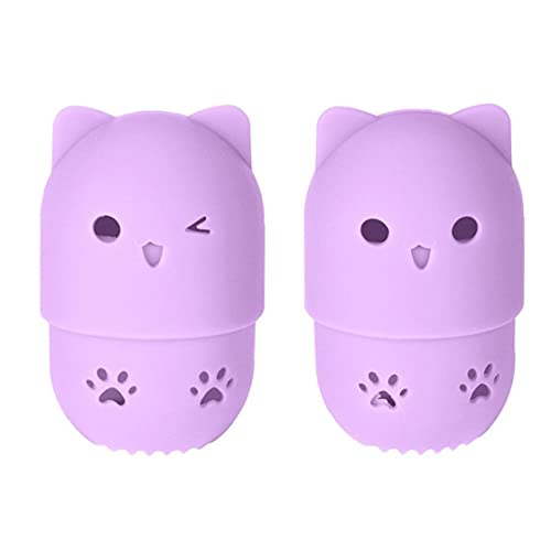 Yililay Makeup Sponge Case Silicone Portable Beauty Blender Protective Travel Case with Cute Cat Shape Reusable Washable for Home Hotel Holder Drying Rack Purple 2 PCS