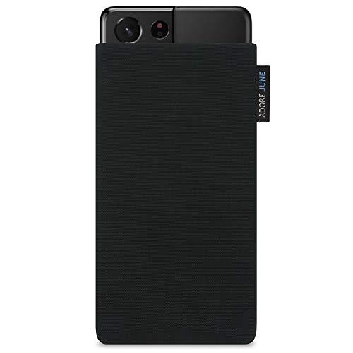 Adore June Classic Negro Funda Compatible con Galaxy S21 Ultra, Material Resistente Efecto Limpiador de Pantalla