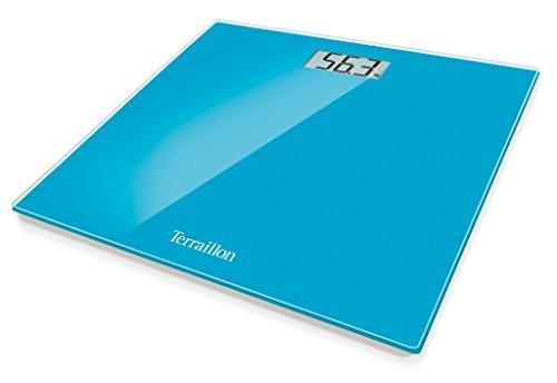 Terraillon Pèse Personne Électronique, Ultra-Plat, Marche/Arrêt Automatique, Grand Écran LCD, 150kg, TX1500, Bleu