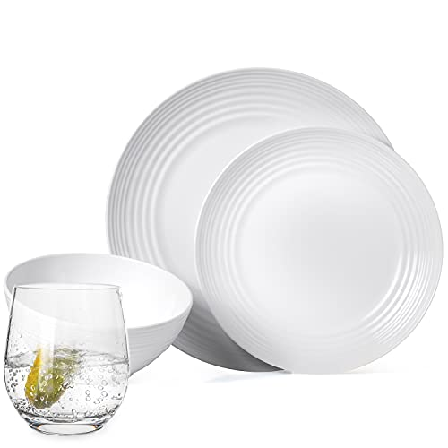 Juego de vajilla antideslizante de melamina para camping, color blanco, para 4 personas, 16 piezas + 4 vasos de agua Tiamo, vajilla de picnic, barbacoa