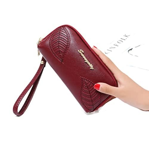 Cartera de protección RFID para mujer con cierre de cremallera de gran capacidad para teléfono móvil, cartera para niña