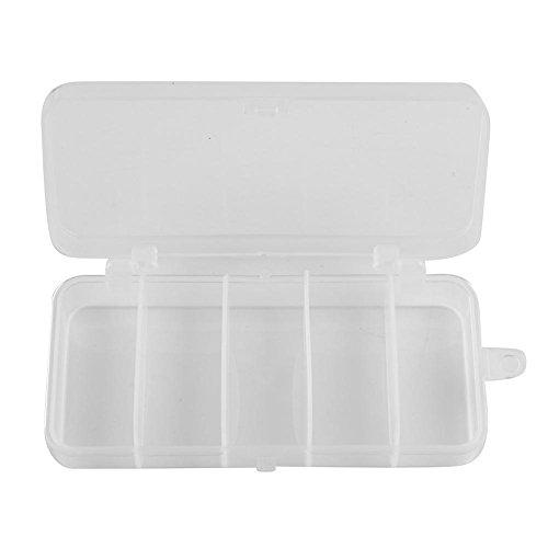 DHYED Cebo de pesca con 5 compartimentos, caja de almacenamiento, 130 x 68 x 24 mm, PVC, transparente, cuchara, accesorios de pesca impermeables