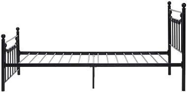 Zouron Cadre de Lit Simple à Lattes en Acier Robuste Structure Métallique avec Tête et Pied Facile à Assembler, 90 x 200 cm,