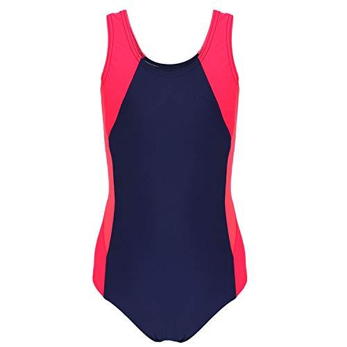 Aquarti Mädchen Badeanzug mit Ringerrücken, Farbe: Dunkelblau/Koralle/Rot, Größe: 134