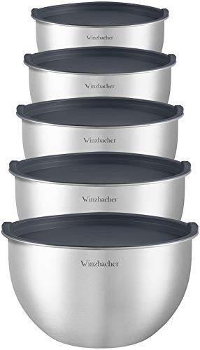 Winzbacher® Edelstahl Schüssel [5er Set] 1l + 1.5l + 2.5l + 3.5l + 4.5l | Spülmaschinenfest | Rührschüssel, Salatschüssel, Schüsselset, Edelstahlschüssel, Schale, Bowl | stapelbar | Deckel (Grau)