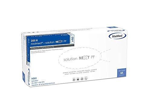 Einmalhandschuhe aus Nitril MaiMed Solution next PF weiß L Gr. 9, puderfrei, unsteril, latexfrei, 200 Stück/Box