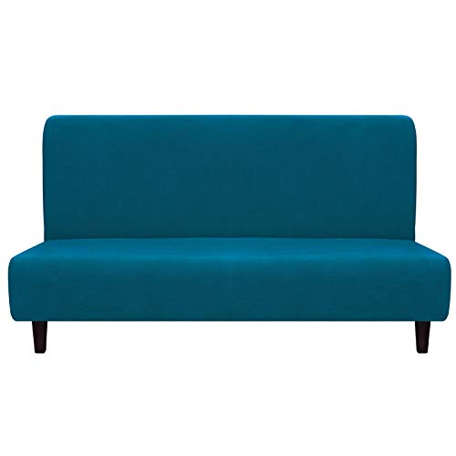 Easy-Going Fleece Stretch Sofa Slipcover – Spandex Anti-Slip Soft Couch Sofa Cover, Armless Washable Furniture Protector with Elastic Bottom for Kids, Pets(Futon,Peacock Blue)