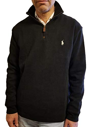 Polo Ralph Lauren Men Half Zip French Rib Pony Logo Long Staple Cotton Pullover Sweater (Small, Jet Black)