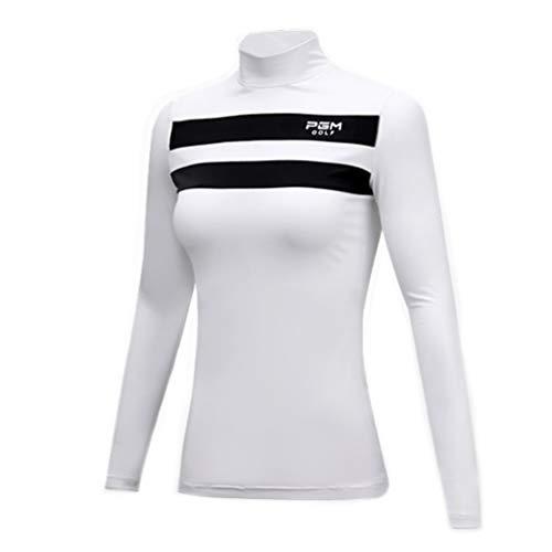 FD2LB1NVL Frauen Golf Shirt Damen Herbst/Winter Langarm T-Shirt Frauen Stehkragen Shirt Golf Kleidung Sportanzug Golf Top Coat, weich und atmungsaktiv (2,L)