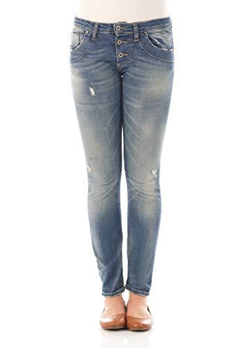Please Damen Jeans P08I - LAV1273 - Straight Fit - Blau - Mid Blue Denim XXS XS S M L XL 98% Baumwolle Stretchjeans Damenjeans, Größe:L, Farbvariante:Mid Blue Denim (0021)