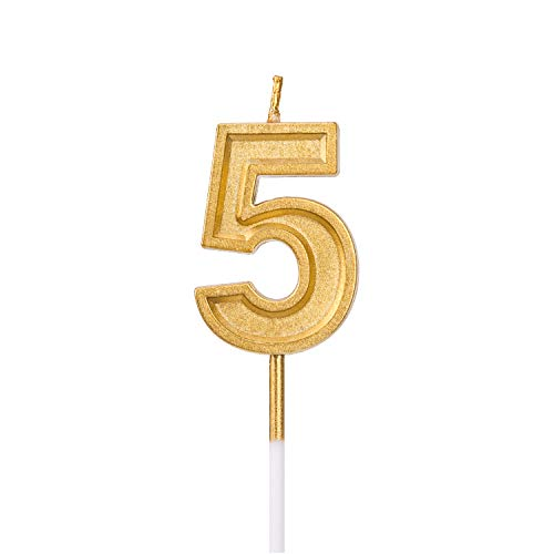 LUTER Gold Glitter Happy Birthday Cake Candles Number Candles Number 5 Birthday Candle Cake Topper Decoration for Party Kids Adults