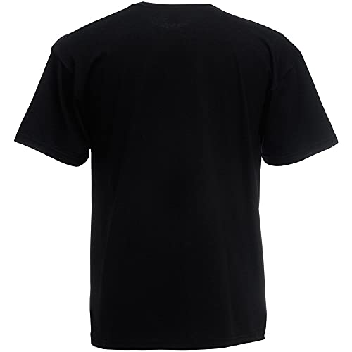 Fruit of the Loom - Camiseta Básica de Manga Corta de Calidad diseño Original Hombre Caballero (Grande (L)) (Negro)