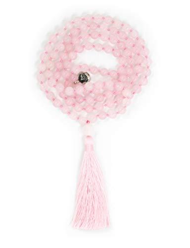 Premiun Mala Beads Necklace - Cuarzo Rosa - Collar de Cuentas de Mala - Cuentas de Meditation - Perlas Mala - MalaBeads - Collar de Mantra - Joyeria de Yoga - Budista de Oracion