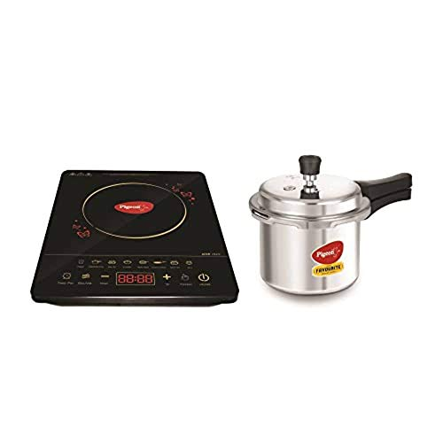 Pigeon Acer Plus Combo 1800 Watt Induction Cooktop and Pressure Cooker with Induction Base (14452), Induction Stove comes with Feather Touch Control (Black).