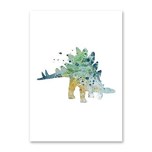 Acuarela Animal de Dibujos Animados Dinosaurio DIY Pintura de Diamante Kit de Punto de Cruz artesanía 5D Bordado de Diamantes con Incrustaciones (Cuadrado 50x60cm)(Cuadrado 50x60cm)