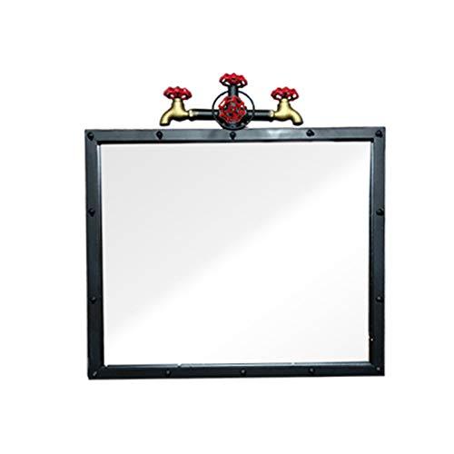 JJZI-L Espejo De Baño De Rectángulo, Diseño De Arte De Hierro Espejo Decorativo Espejo Creativo Grifo De Fondo Espejo De Pared(Size:60 * 66CM)