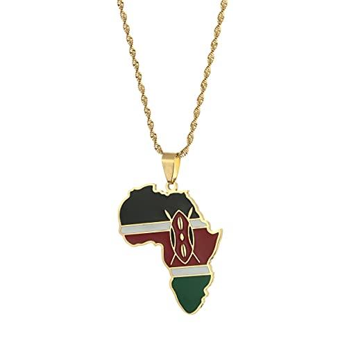 Kkoqmw Mapa de África Mapa de Kenia Collares Pendientes