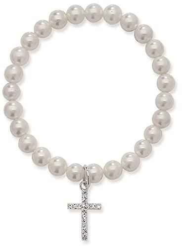 Aeon Pulsera elástica de perlas blancas para niñas de la primera comunión con dije de cruz de plata de ley, regalo para niñas