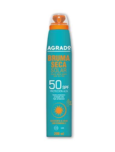 Protector Solar 50 SPF Protección UVA UVB Resistente al agua Invisible Bruma Seca Solar Spray 360º Agrado