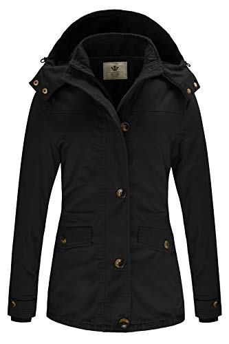 WenVen Women's Military Thicken Winter Jacket with Removable Hood (Black, Large)