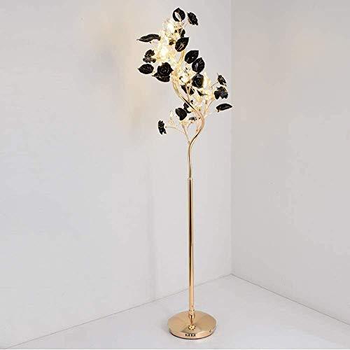 ZGYQGOO Stehlampen Beschichtung Gold Finish, Keramik Blume Kristall Lampe - 9xG4LED vertikale Stehlampe einfache Moderne Wohnzimmer Schlafzimmer Studie Dekoration Lampe (Farbe: schwarz)