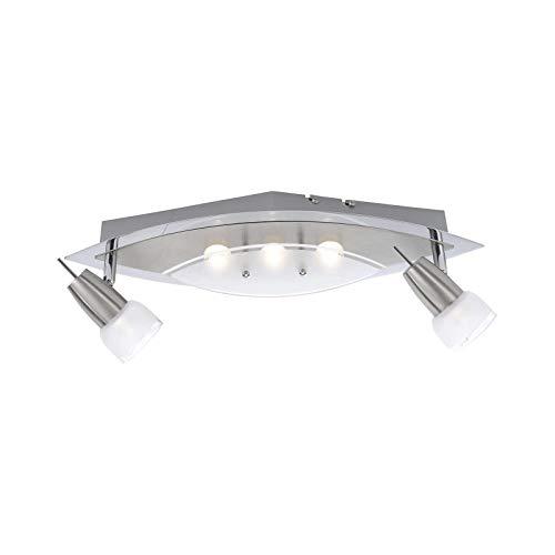 LED plafondspots 2 spots gang plafond lamp woonkamer hallamp (plafondlamp, keukenlamp, 49 cm, 5 x 3 Watt, warm wit)