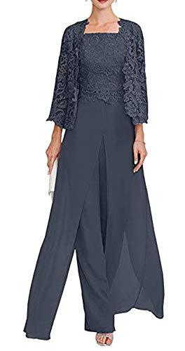 Snow Lotus Damen Lange Drei Stücke Chiffon Mutter der Braut Kleid mit Spitze 3/4 Arm Formale Hosen Ballkleid Gr. 50, marineblau