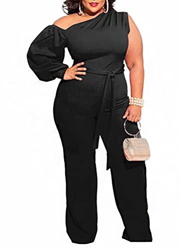 Fastkoala Plus Size Jumpsuits for Women Dressy Wedding - Long Sleeve One Shoulder Zipper Back Tie Waist Belted Stretchy Palazzo Wide Leg Long Pants Jumpsuit Romper One Piece Outfits Black, 3XL