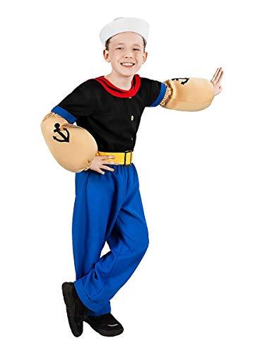 Maskworld Disfraz de Popeye, el Marinero para niños (6 Piezas con Camisa, pantalón, Brazos musculares y Gorro Marinero) - (Tamaño: 122/128)