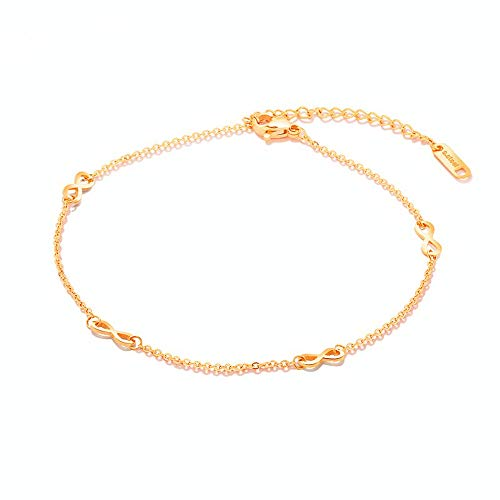 14K Rose Gold Plated Infinity Anklets for Women Teen Girls Stainless Steel Cute 8 Bff Anklet Bracelet Forever Endless Love Symbol Charm Tiny Adjustable Chain Beach Barefoot Hotwife Anklet Wedding Gift