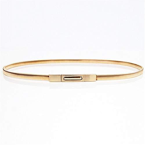 Cinturón de Cintura para Mujer Accesorios de cinturón de Mujer con Hebilla de Acero Inoxidable, cinturón de Vestir de Oro Fino, cinturón para Pantalones Cortos de Jeans Pantalones. (Color : Gold)