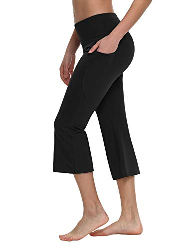 BALEAF Women's 21' Yoga Capri Pants Flare Workout Bootleg Leggings Bootcut Crop Side Pockets Black L