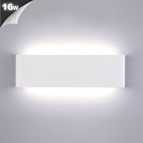 Lightess 16W Applique da Parete Interno Moderno Lampada da Parete LED Lampada a Muro Luce in Alluminio per Soggiorno Camera da Letto Scale Corridoio (bianco freddo, bianco)