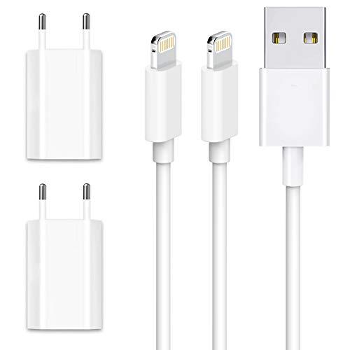 WUYA USB Ladegerät und iPhone Ladekabel 1M 4-Pack für Kabel schnell USB Datenkabel/Netzteil/Ladeset/Ladeadapter für iPhone XS XS Max XR X 8 8 Plus 7 7 Plus 6s 6s Plus 6 6 Plus SE 5s 5c 5 - Weiß