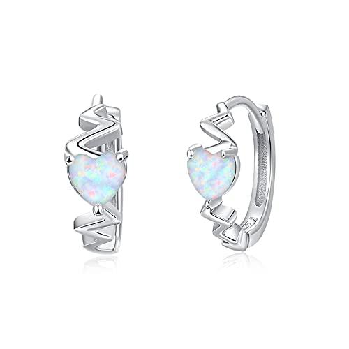 Pendientes de aro con forma de corazón para mujer, de plata de ley 925, con forma de corazón y ópalo