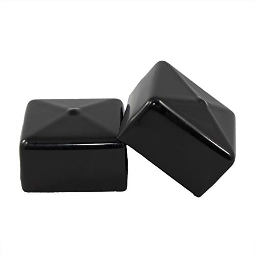 Prescott Plastics 2 Inch Square Black Vinyl End Cap, Flexible Pipe Post Rubber Cover ((A) Pack of 4 Caps)