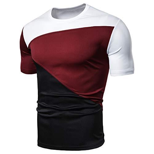 Xmiral T-Shirt Uomo,T-Shirt Divertente Uomo,T-Shirt Basic,T-Shirt Girocollo Semplice,Simple Tee, Maglietta a Maniche Corte, Uomo XL Rosso