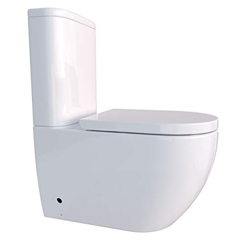 Randlose Stand-WC Kombination inkl. Spülkasten WC-Sitz mit Absenkautomatik SoftClose-Funktion für waagerechten und senkrechten Abgang Spülrandlos KB-6089