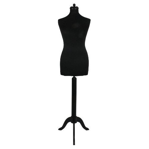 DPS Shopfitting Damen Schneiderbüste, Bezug Schwarz, 3-Bein Ständer Schwarz