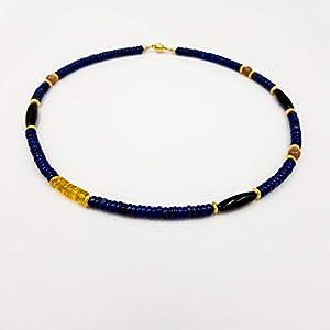Design Edelsteinkette – inspiriert von Paul Klee – blau Lapislazuli gelb Bernstein – schwarz Onyx