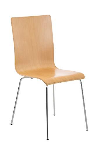 CLP Wartezimmerstuhl Pepe mit ergonomisch geformten Holzsitz und Metallgestell I Konferenzstuhl I erhältlich, Farbe:Natura
