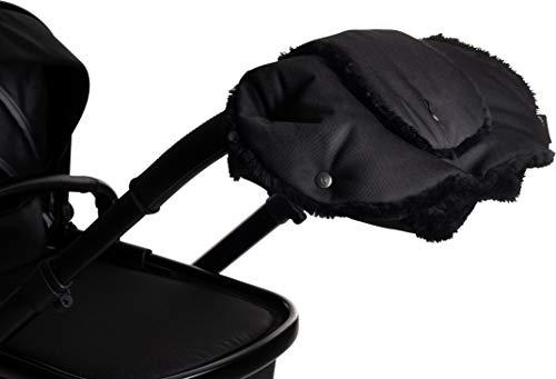 Osann Handmuff für Kinderwagen & Buggy inkl. Handytasche, Handwärmer, Muff aus Fell - Black