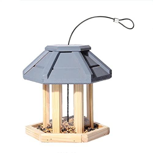 Mangiatoia per Uccelli Selvatici con Tetto Appeso Casetta per Uccelli in Legno a Prova di Scoiattolo Casa per Ornamenti da Giardino per fringuelli 4 Casette per Uccelli in Legno per Esterni