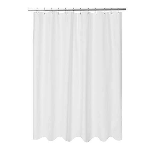Mrs Awesome Embossed Microfiber Fabric Longer Shower Curtain Liner 75 inch Long, Washable and Water Repellent, White