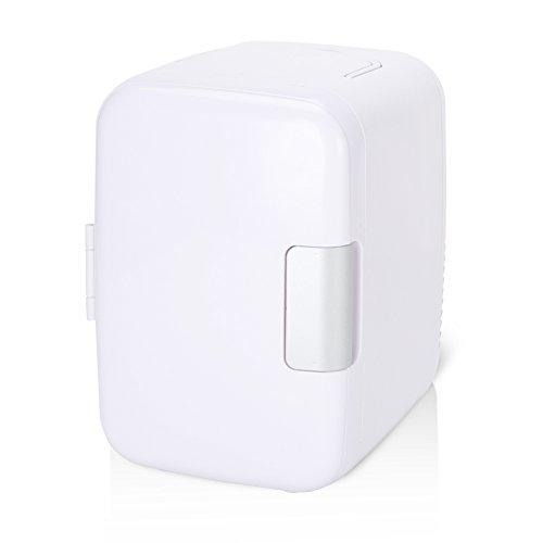 Sren Mini Nevera, 4 litros 12V Refrigerador Compacto Portátil, Ventilador De Enfriamiento Grande Más Frío y Más Cálido Nevera Pequeña para El Cuidado de La Piel con Manija para Estante de Puerta(#6)