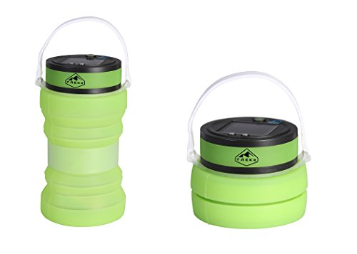 Trekk Solar Camping Lantern with Waterproof Silicone Storage | USB Charger Included | Three LED Light Settings | Must-Have Lightweight Compact Camp Gear