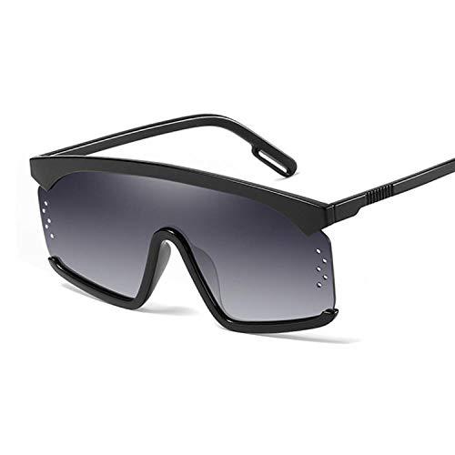 U/N Gafas de Sol de Gran tamaño para Mujer, Gafas de Sol cuadradas Negras con una Lente Grande, Montura Transparente para Mujer-3