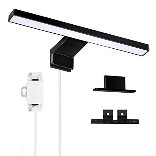 ERWEY 5W LED Lampada Specchio Bagno Nera, 30CM 400LM 6000K Bianco Freddo, Luce da Specchio per Bagno 230V Impermeabile IP44 (300mm)